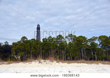 A photo of a Florida lighthouse from the beach
