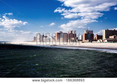 Late afternoon sunshine on Brighton Beach. Brooklyn