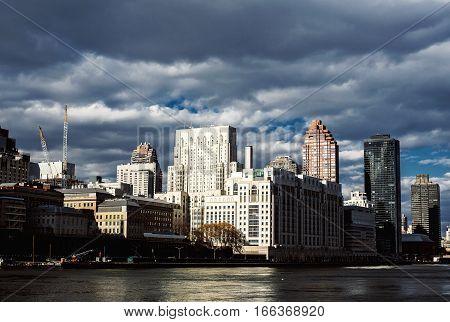 NewYork City panorama with Manhattan Skyline on cloudy day.