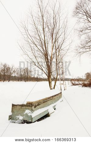 Boat Covered With Snow Under A Tree