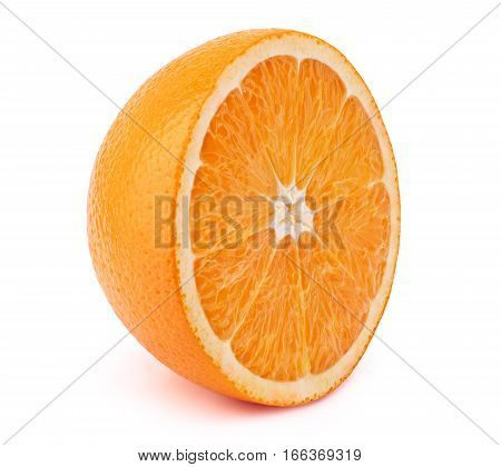 Perfectly retouched sliced orange isolated on the white background with clipping path