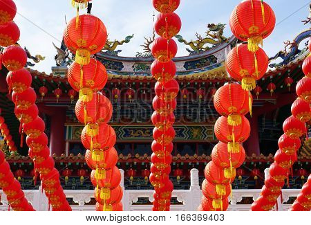 Chinese Lanterns decoration during month of Chinese New Year in Thean Hour Temple, Kuala Lumpu, Malaysia.