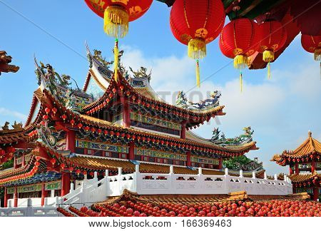 Thean Hou Temple Decorated With Red Chinese Lanterns During Month Of Chinese New Year, Kuala Lumpur,