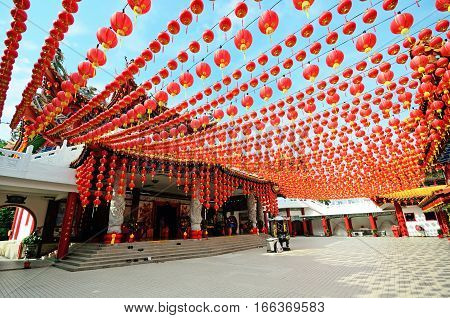 Lanterns decoration in Thean Hour Temple during month of Chinese New Year, Kuala Lumpur, Malaysia.