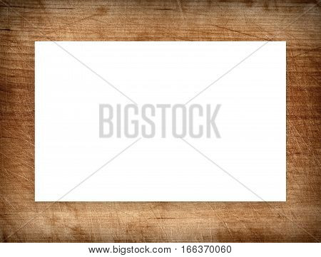 Brown scratched wooden frame, billboard or white horizontal rectangle.