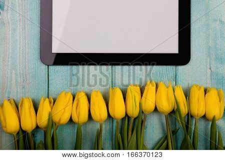 Yellow tulips and a wooden tablet on a blue background with sparkles