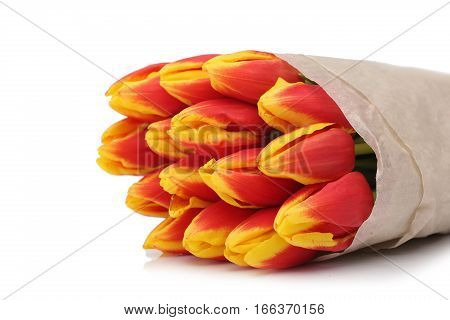 Bouquet of yellow-red tulips isolated on white background