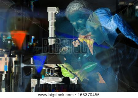 Health care professionals in scientific laboratory. Science research. Collage of photos with negative exposure. Weird artificial lightning.