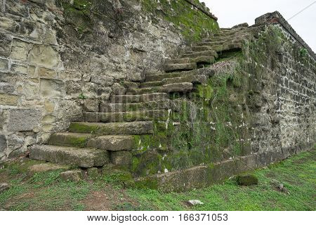 vintage stone stairs of old fort in Colon Panama