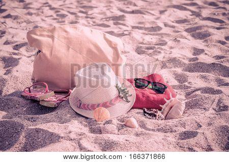 Beach Accessories On Sand, Vintage Background
