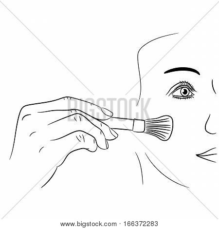 girl gets rouge brush on white background of vector illustrations