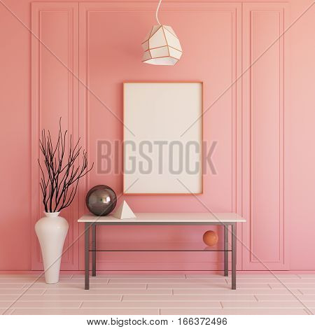 Interior mockup illustration, 3d render, pink wall with blank board
