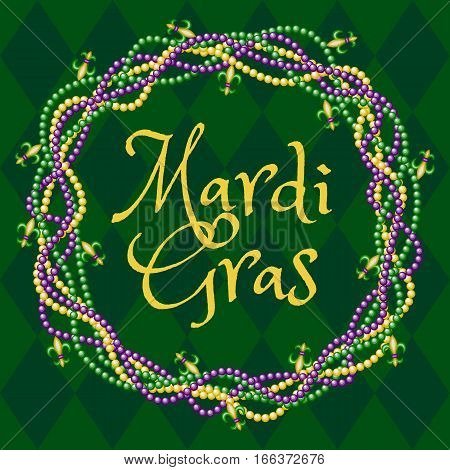 Mardy gras green background with colorful beads