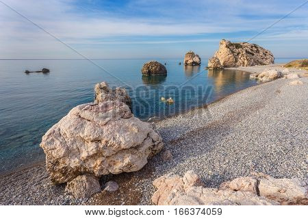 Seascape with Petra tou Romiou, also known as Aphrodite's Rock, is a sea stack in Pafos, Cyprus.