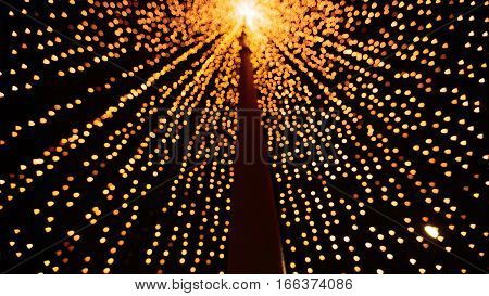 Bright yellow gold bokeh. Abstract Christmas vibrant background