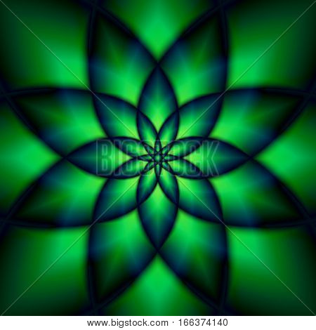 Abstract Green Flower On A Dark Background.