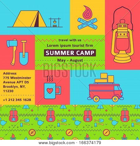 Tourist firm promotional poster. Summer camp. Camping colored banner. Vector flat poster about trekking, walking, hiking, car traveliing