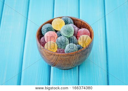 Sugar Coated Fruit Jelly In A Bowl