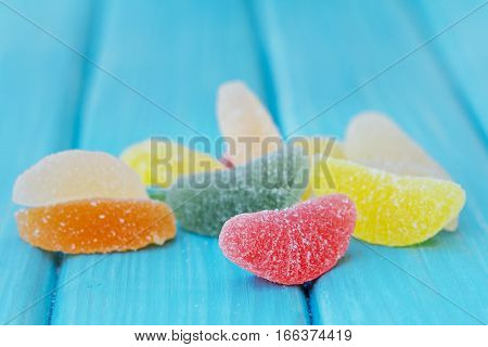 Sugar Coated Fruit Jelly On The Table