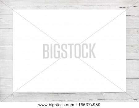 White scratched wooden frame, billboard or horizontal rectangle with planks.