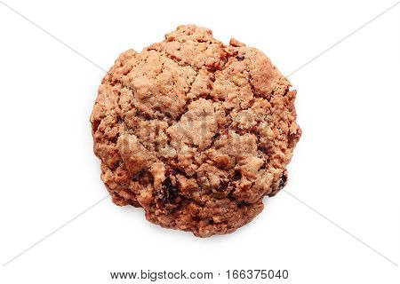 Close-up Of Oatmeal Raisin Cranberry Cookie Isolated On White Background