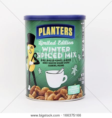 Spencer Wisconsin January222016 Can of Planters Winter Spiced Mixed Nuts Planters is an American based snack food company founded in 1906