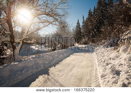 Snowy road in winter village in sunshine with blue sky