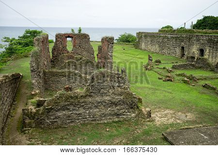 June 10 2016 Colon Panama: the remains of the Spanish built fort San Lorenzo