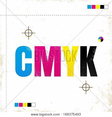 Vector vintage poster with CMYK. CMYK on grunge paper.