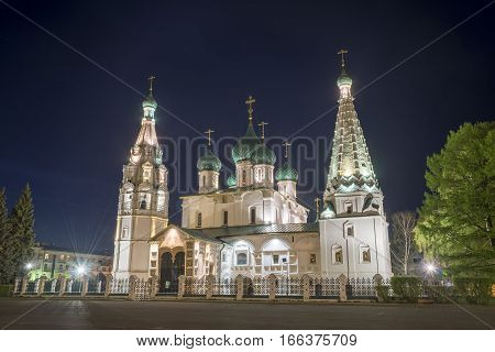 Church Of Elijah The Prophet In Yaroslavl. Night View