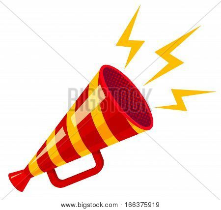 Vector vintage poster with red retro megaphone. Striped megaphone.