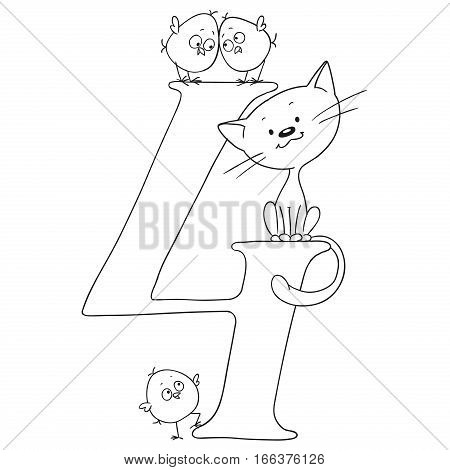 Number four. Cartoon animals and signs. Chicken and kitten. Funny figures for coloring book. Vector isolated