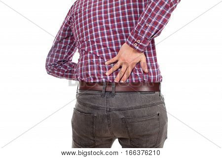 Close up picture of a young man having a serious back pain