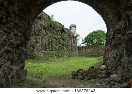 on the bottom of a medieval fort's moat in Panama