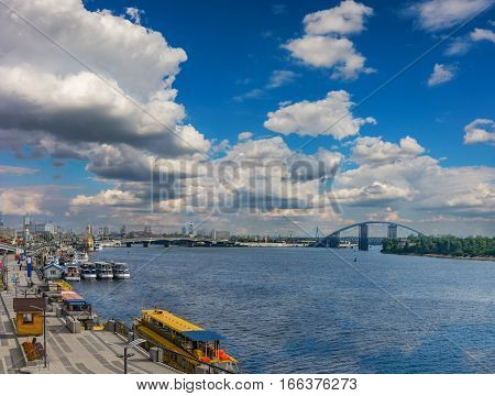 Kyiv river port on the sky background
