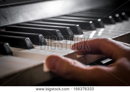 The Piano And The Pianist's Hands. Details Of The Musical Instrument.