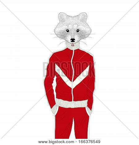 Vector brutal raccon boy in sport suit 90s. Hand drawn anthropomorphic animal cartoon, cheerful fashion bunny in sportwear, illustration for t-shirt print, kids greeting card, invitation for party.