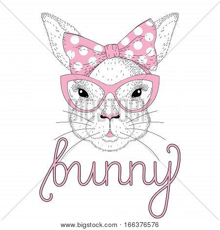 Vector cute bunny girl portrait with pink pin up bow tie on head, cat eye sunglasses. Fashion hand drawn animal illustration for t-shirt print, kids greeting card, Happy Easter symbol.