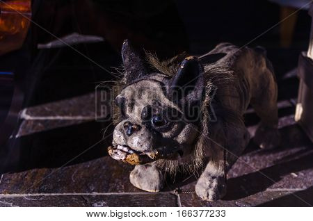 dog, decoration, figurine, bulldog, old, sculpture, animal