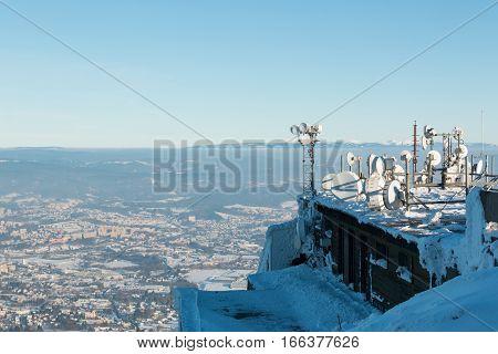 Communication equipment at mountain Jested near Liberec Czech Republic