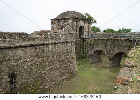 June 10 2016 Colon Panama: the moat at the entrance to the ruins of fort San Lorenzo a world heritage site