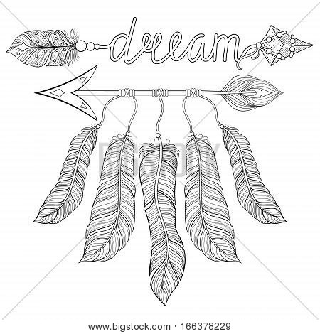 Boho chic ethnic dream Arrow with feathers, dream catcher. Hand drawn American Indian style, zentangle illustration for adult coloring pages, art therapy, t-shirt tribal print. Henna tattoo design.