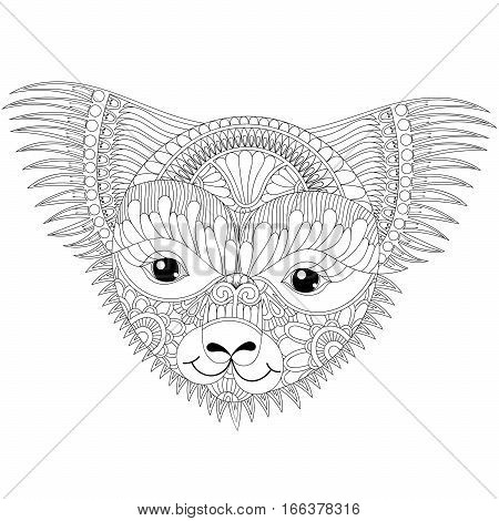 Vector zentangle happy friendly koala face for adult anti stress coloring pages, book, Australian marsupial bear  for mascot, tribal tattoo art, greeting card. Hand drawn patterned illustration.
