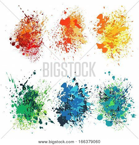Set of watercolor splash on white background vector illustration. Ink grunge splashes