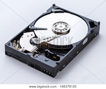 Detailed view of the inside of a hard disk drive