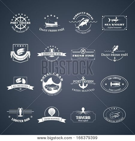 Perfect set of seafood logos. Seafood badges, labels and design elements. Can be used for restaurants, menu design, internet pages design, in the fishing industry, commercial