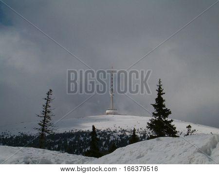 Photo of a transmitter station on Praděd (Czech Republic)