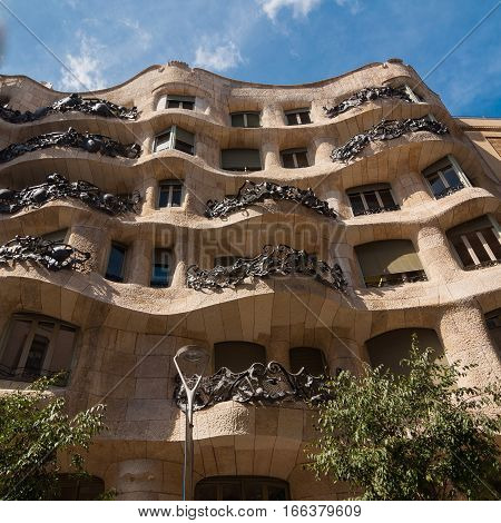 Exterior Of The Casa Mila. La Pedrera By Antonio Gaudi.