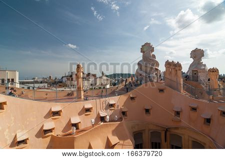 Chimneys Of The Casa Mila -la Pedrera By Antonio Gaudi.