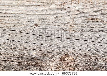 Texture of natural old wooden weathered board with crack lines, curves, swirls. Close-up. Aged grunge surface. Natural background